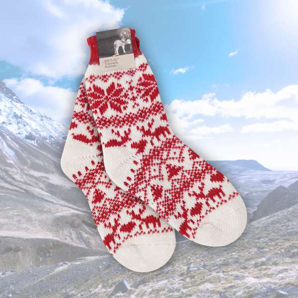 Merino Socken Rentier (rot)